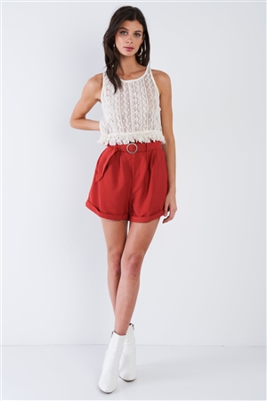 Spice Red Frill Trim High Waist Belted Boho Chic Shorts
