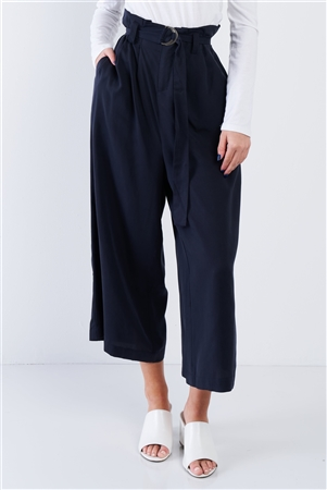 Navy High Waisted Wide Leg Office Chic Gaucho Pants