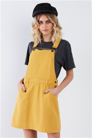 Honey Yellow Cotton Overall Dress