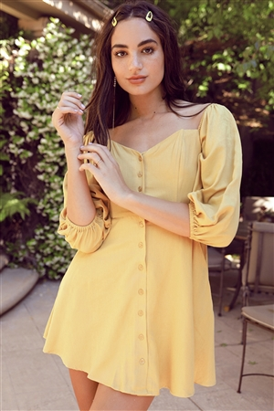 Mustard Off-The-Shoulder Button Down Mini Dress