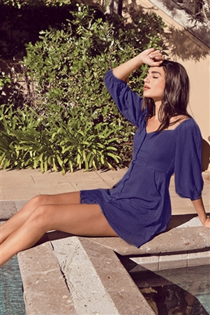 Navy Off-The-Shoulder Button Down Mini Dress