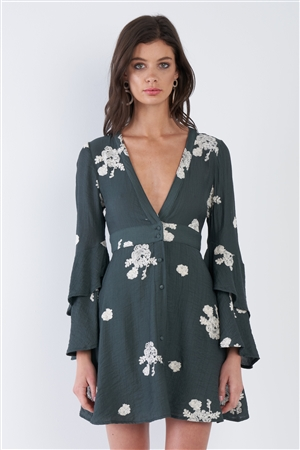 Teal Green Chic Floral V-Neck Layered Trumpet Sleeve Mini Dress