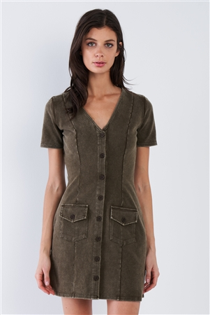 Olive Green Acid Washed V-Neck Button Down Mini Dress
