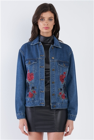 Denim Blue Rose Embroidered Vintage Jean Jacket