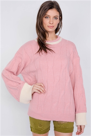 Pink Knit Contrast Bell Sleeve Cuff Relaxed Fit Cable Sweater
