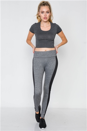 Heather Grey Black Sporty Active Legging
