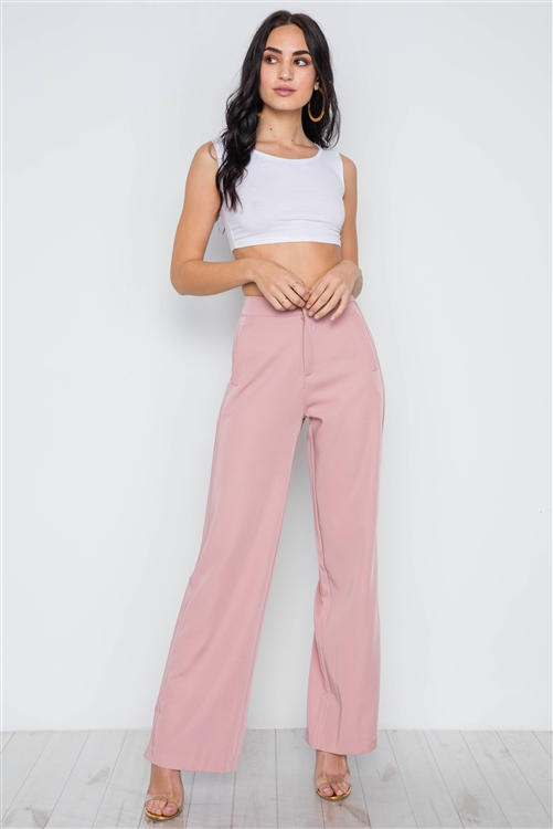 Blush High-Rise Wide Leg Solid Pants