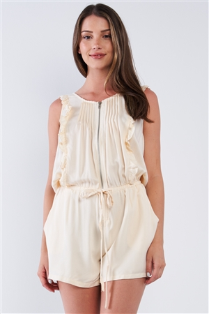 Soft Powder Ivory Pleated Ruffle Hem Front Zipper Sleeveless Scoop-Neck Draw String Tie Waistband Romper