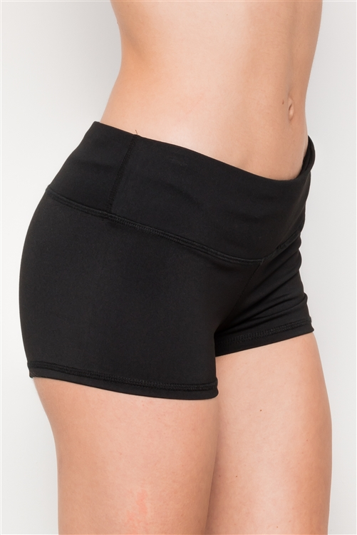 Black Mid Rise Stretchy Sport Short