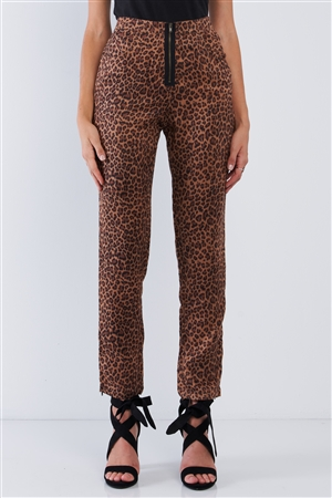 Leopard Print High Waisted Front Zipper Fly Accent Ankle Length Pants