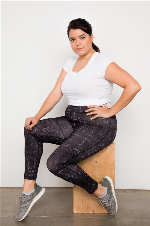 Plus Size Active Mid Rise Marble Print Leggings