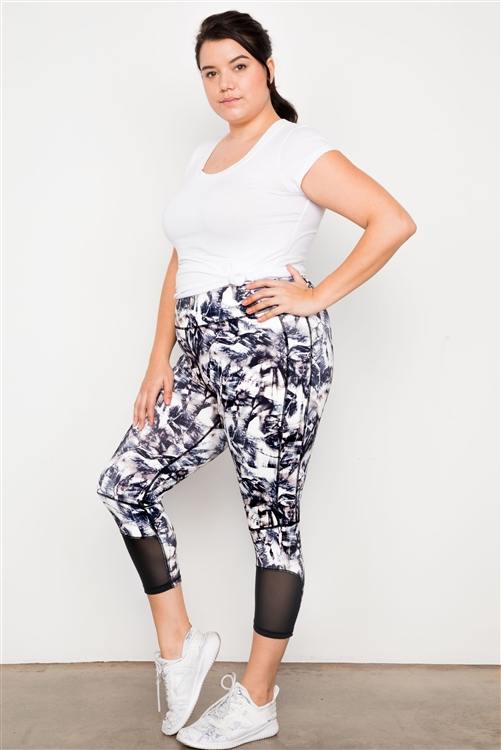 Plus Size Active Athletic High Rise Abstract Leggings