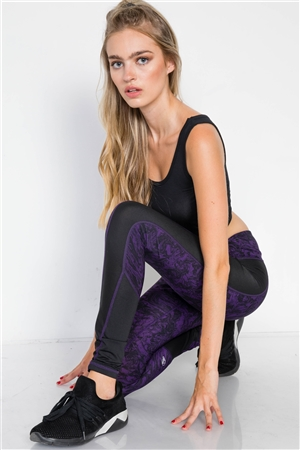 Jet Black Blackberry Watercolor Sporty Active Legging