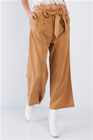 Mustard Brown Soft Suede Wide Leg Gaucho Pant