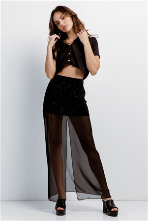 Jet Black High Waisted Crushed Velvet & Mesh Front Slit Detail Maxi Skirt /1-2-2-1