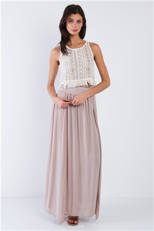 Khaki Sheer Center Side Slit Boho Elastic Waist Maxi Skirt