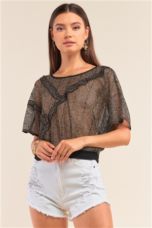 Black&Yellow Sequin Net Frill Detail Round Neck Relaxed Fit Mesh Hem Top /1-2-2-1