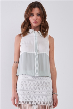 Mint & White Color Block Sleeveless Embroidered Detail Button-Down High Neck Top /1-2-1