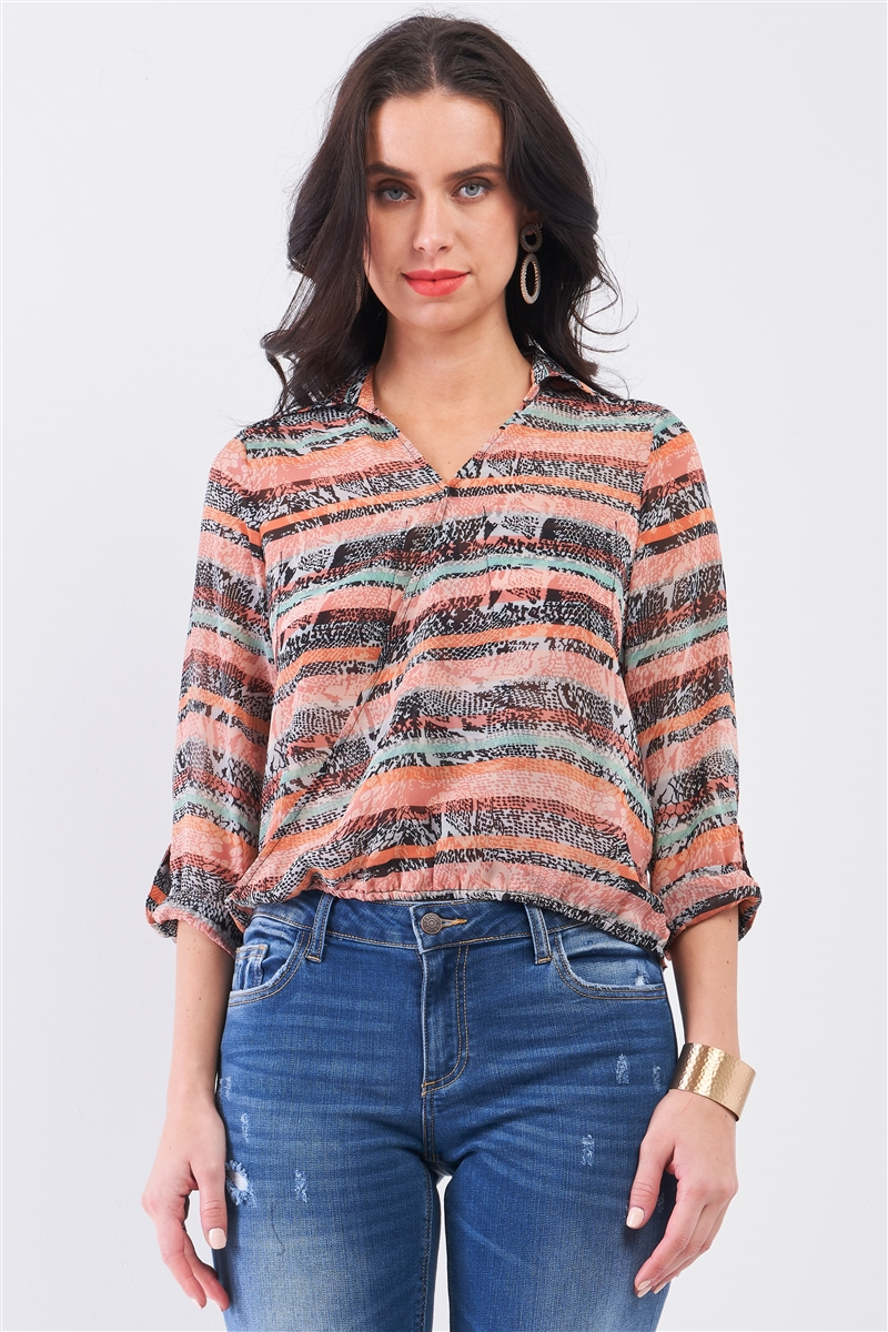 Coral Multi Print  Wrap Collared V-Neck Rolled-Up Sleeve Front Pockets Back Cut-Out Detail Shirt Top
