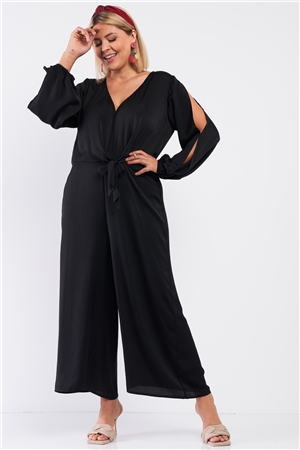 Junior Plus Size Black Satin V-Neck Self-Tie Waist Slit Sleeve Detail Jumpsuit /1-1-1