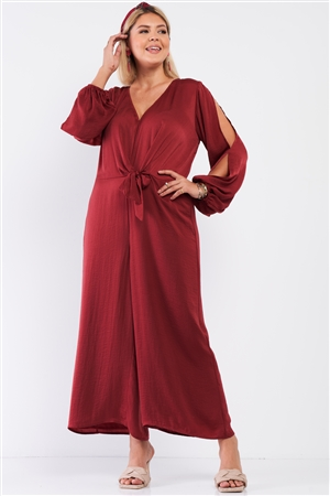 Junior Plus Size Sangria Red Satin V-Neck Self-Tie Waist Slit Sleeve Detail Jumpsuit /1-1-1