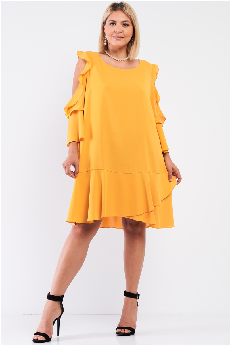 Junior Plus Mustard Midi Sleeve Flare Hem Layered Bottom Off-The-Shoulder Mini Dress /1-1-1