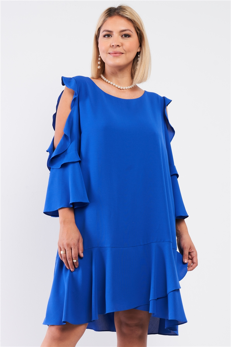 Junior Plus Royal Blue Midi Sleeve Flare Hem Layered Bottom Off-The-Shoulder Mini Dress /1-1-1