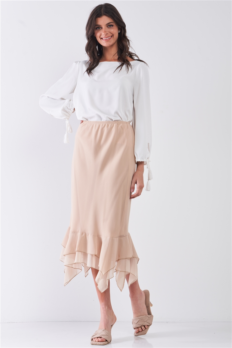 Beige High-Waisted Fitted Asymmetrical Flare Hem Midi Pencil Skirt