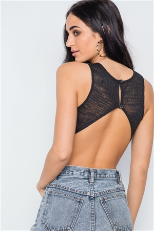 d47377f915 Quick View this Product Black Knit Ribbed Open Back Sleeveless Bodysuit