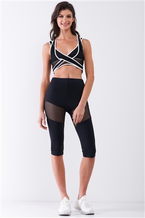 Black High Waist Sheer Mesh Cut-Ins Sports Midi Legging Pants /2-2-2