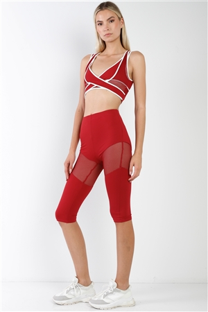 Red Combined Sheer Net Mesh Sleeveless Overlapping Racer Back Sports Bra Crop Top