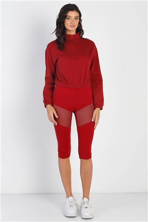 Red High Waist Sheer Mesh Cut-Ins Sports Midi Legging Pants /1-2-2-1