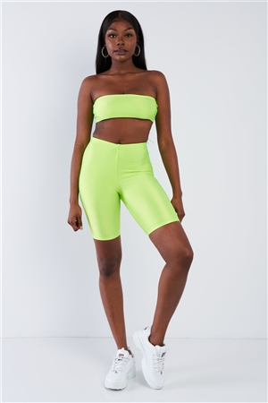 Lime Green Bandeau Elastic Crop & Solid Biker Shorts Set