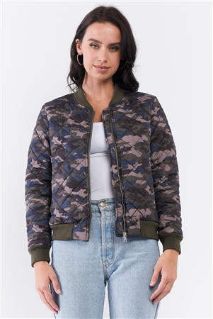 Olive Camo Print Quilted Puff Sleeve Front Zip-Up Winter Jacket /1-2-2-1