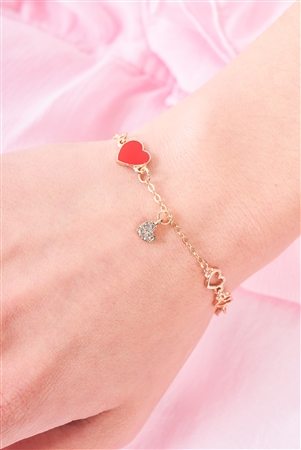 Gold Mini Heart Charm Bracelet /3 Pieces