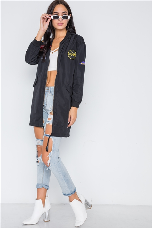 Black Graphic Patch Long Sleeve Bomber Jacket