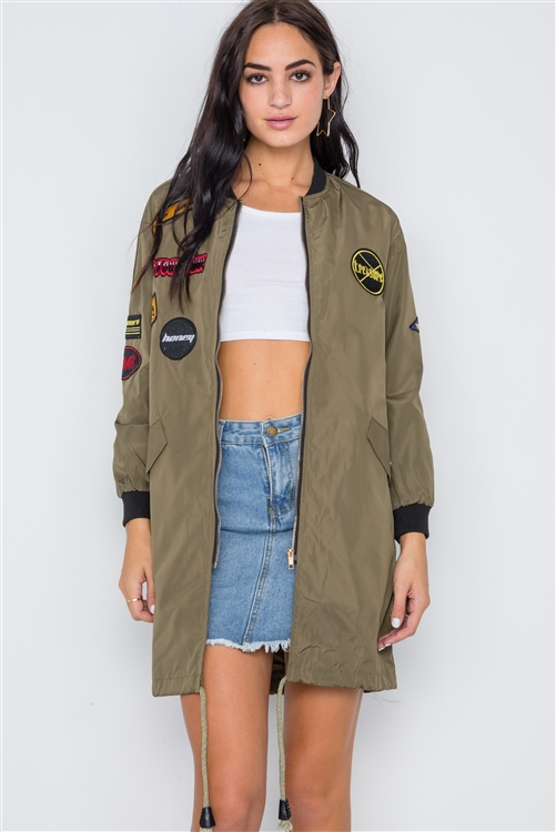 Olive Graphic Patch Long Sleeve Bomber Jacket