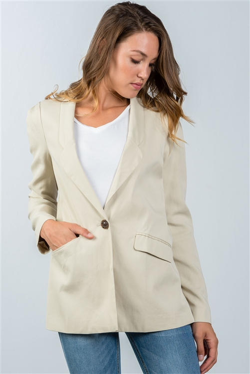 Ivory One Button Closure Blazer