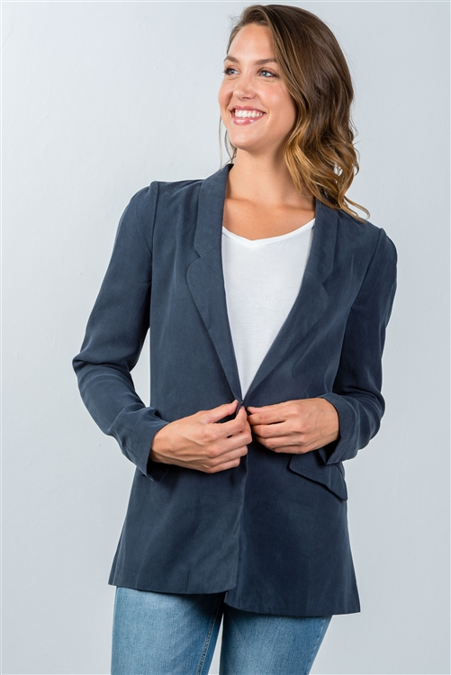 Navy One Button Closure Blazer