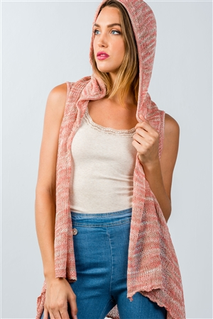 Coral Open-Knit Hooded Open Front Cardigan
