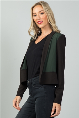 Black And Olive wo Tone Open Front Blazer