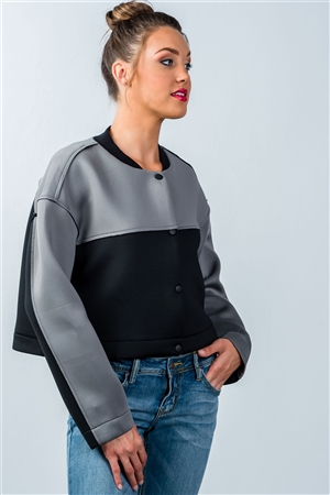 Grey And Black Color-Block Jacket