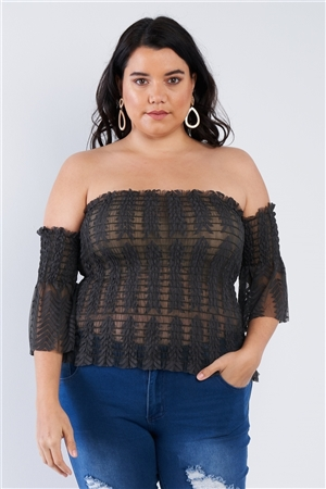 Junior Plus Size Olive Off The Shoulder Plus Size Top