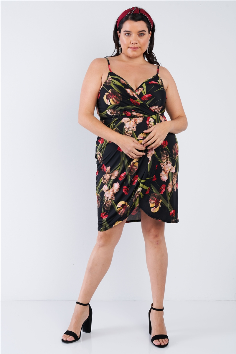 Black Plus Size Floral Surplice Tulip Mini Dress