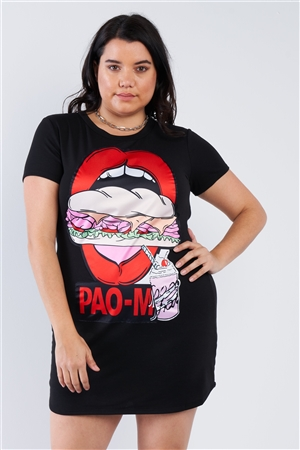 Black Graphic Plus Size T-shirt Dress