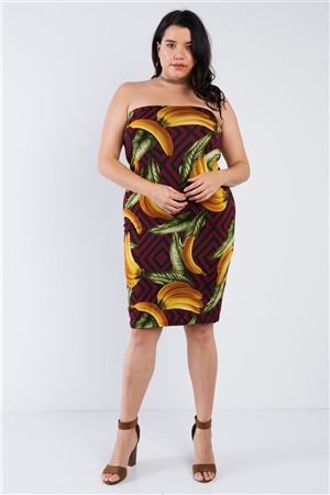 Plus Size Burgundy Banana Print Tube Top Midi Dress
