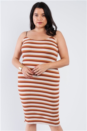 Taupe Plus Size Stripped Ribbed Knit Tank Midi Dress
