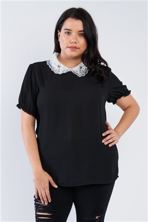 Black Plus Size Chiffon Embellished Peter Pan Collar Top