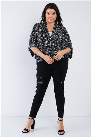 Plus Size Black Boho Print Wrap Top