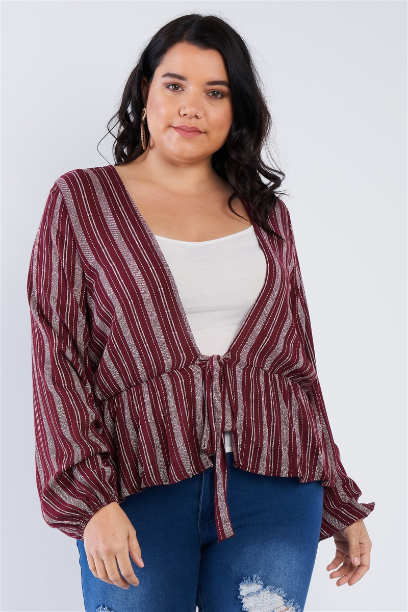 Junior Plus Size Deep Open V-neck Burgundy Boho Top